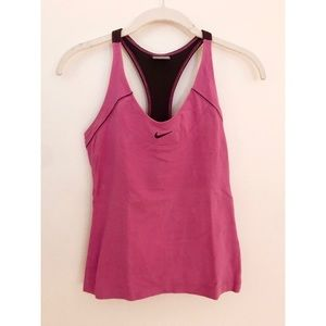 Nike Pink and Black Racerback Athletic Top